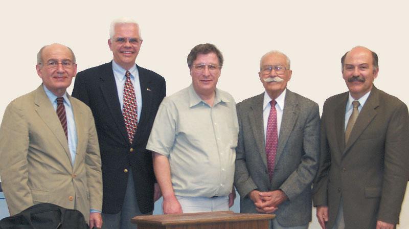 """William Saroyan and His World"" participants, left to right: Dr. Dickran Kouymjian, John Kallenberg, William Secrest, Berge Bulbulian, and Barlow Der Mugrdechian"