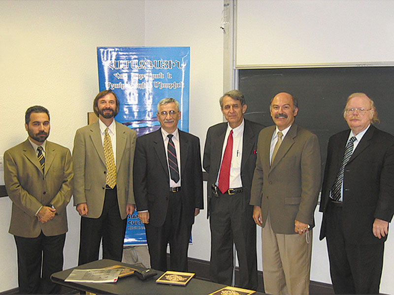 L. to R. Conference participants Hagop Gulludjian, Dr. Peter Cowe, Dr. John Ahramanian, Dr. Marzbed Margossian, Barlow Der Mugrdchian, and Dr. David Bundy.