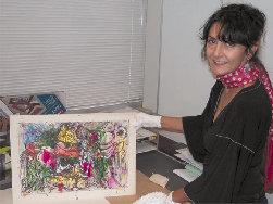 Graduate Student Hazel Antaramian-Hofman, with a work by artist Varaz Samuelian