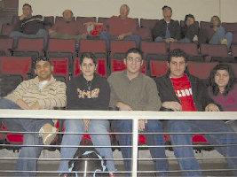L. to R. : Stepan Kyutunyan, Taline Kasparian, Hagop Ohanessian, Avo Arikian, and Jamie Kalebjian at the Fresno State vs. Hawaii basketball game