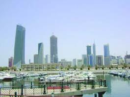 Skyline of Kuwait City, capital of Kuwait.