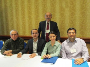 """L. to R.: Dr. Rouben Adalian, Khatchig Mouradian, Prof. Barlow Der Mugrdechian, Asya Darbinyan, and Ümit Kurt at the second conference session on """"The Aftermath of the Armenian Genocide-Part I."""""""