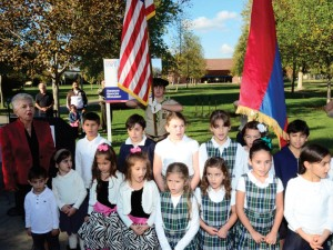 Keyan Armenian Community School students singing the Armenian National Anthem at the groundbreaking.