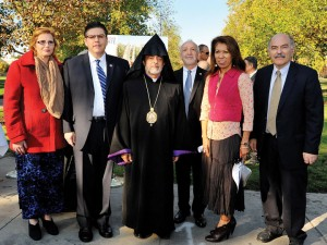 L. to R.: Mrs. Mary Castro, Dr. Joseph Castro, Archbishop Derderian, Berj Apkarian, Dr. Cynthia Teniente-Matson, and Professor Barlow Der Mugrdechian at the groundbreaking.