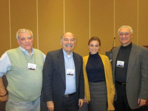 Left to right: Dr. Ron Marchese, Prof. Barlow Der Mugrdechian, Nora Cherishian Lessersohn, and Jirair Christianian, following the panel. Photo: ASP Archive