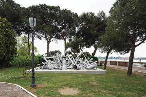 """""""Streetlights of Memory – A Stand by Memorial,"""" by sculptor Melik Ohanian, 2010–15, installation view outside the Armenian pavilion located at the Mekitarist Monastery on the island of San Lazzaro. The Armenian National Pavilion won the """"Golden Lion Award"""" for being the best National Pavilion. Photo: Courtesy of Armenity"""