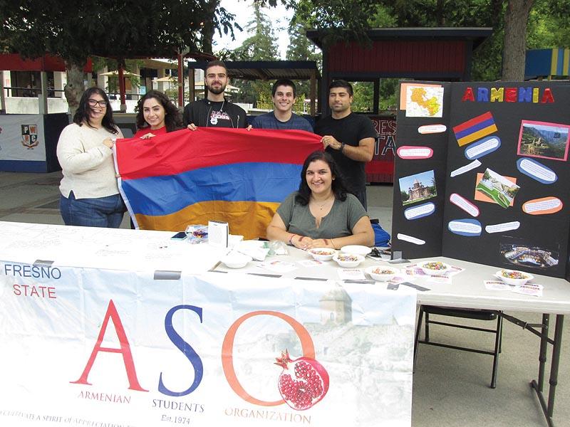 Left to right: Kara Statler, Suzanna Ekmekchyan, Arthur Khatchatrian, David Safrazian, Marina Chardukian, and Davit Gevorgyan at the Armenian Independence Day celebration. Photo: Barlow Der Mugrdechian
